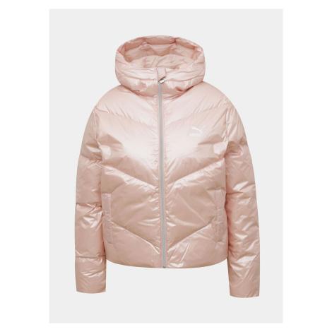 Różowa pikowana kurtka zimowa damska Puma