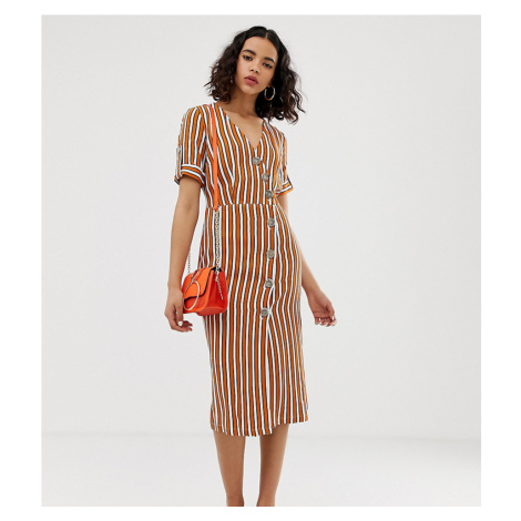 River Island midi dress with button detail in stripe