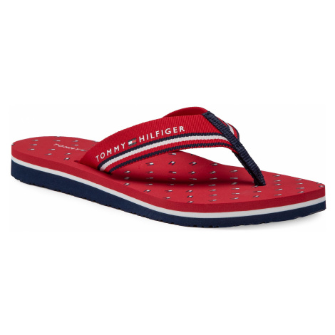 Japonki TOMMY HILFIGER - Essential Mini Flag Flip Flop FW0FW05272 Primary Red XLG