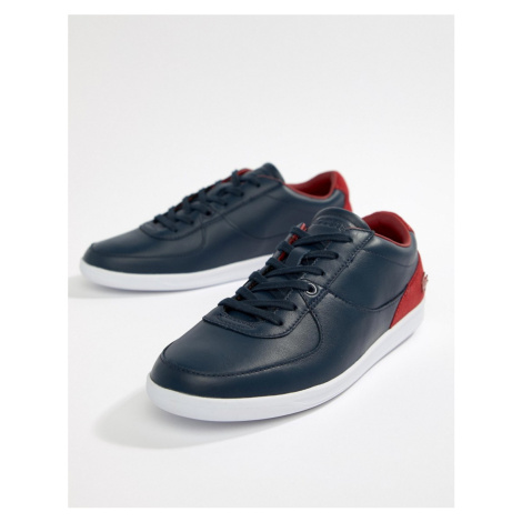 Lacoste Minimal leather trainers in navy and red