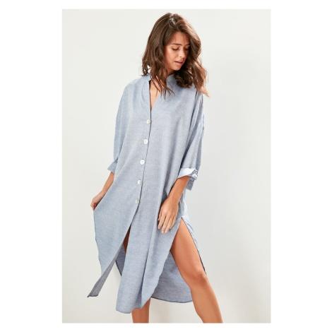 Trendyol Navy Blue Buttoned Shirt Dress