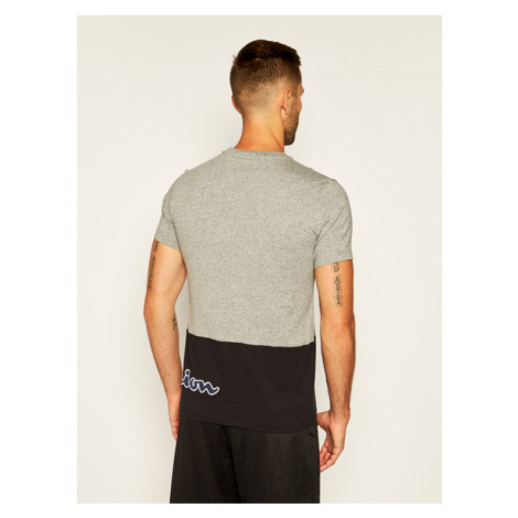 Champion T-Shirt Colour Block Wraparound Logo 214208 Szary Comfort Fit