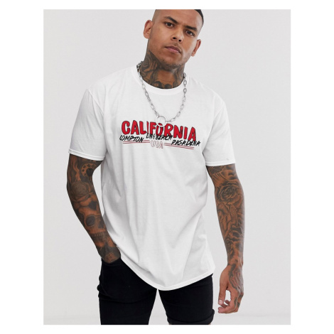 BoohooMAN oversized t-shirt with California print in white