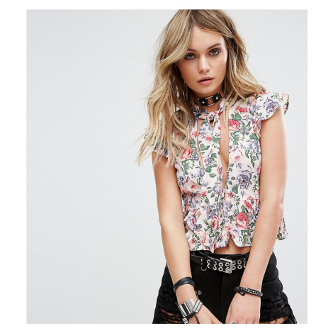Motel Tie Neck Top In Floral With Deep V Cut Out