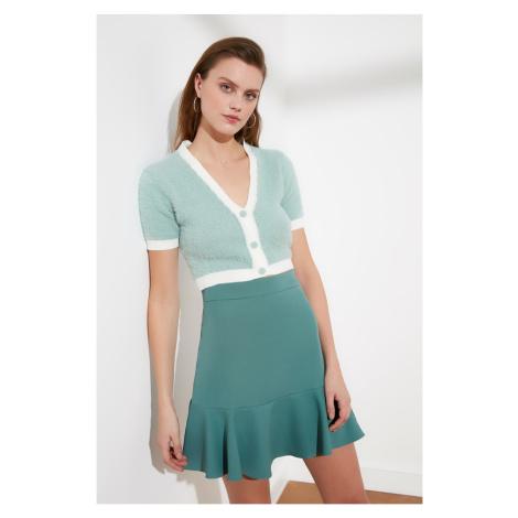 Trendyol Mint Biye Szczegółowe Crop Knitwear Kardigan