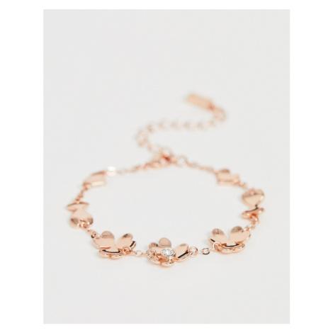 Ted Baker Hanaya rose gold plated heart flower bracelet