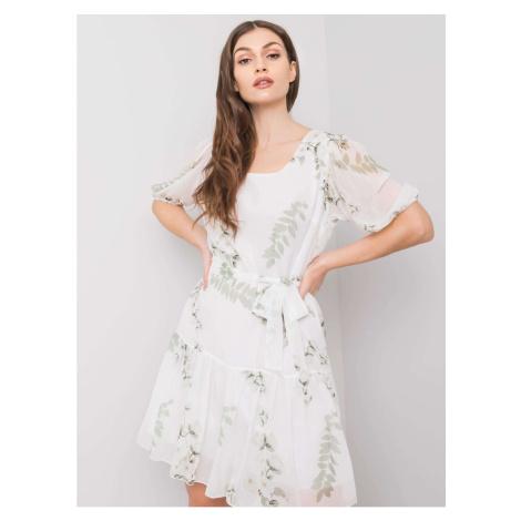 Damska biała sukienka z kwiatami
