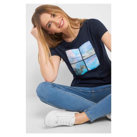 T-shirt z nadrukiem i haftem Orsay
