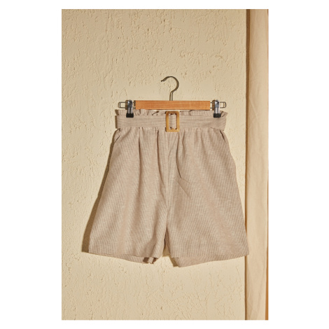 Trendyol Beige Belt Shorts & Bermuda