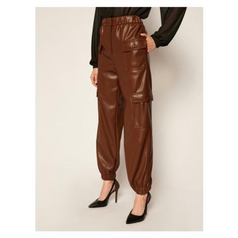 MSGM Spodnie skórzane 2941MDP04 207652 Brązowy Regular Fit
