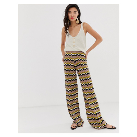 River Island knitted wide leg trousers in zig zag print
