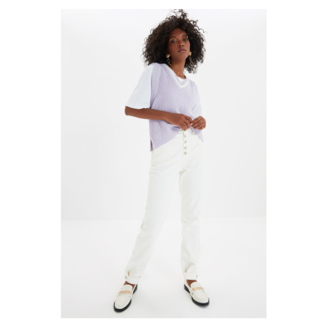 Trendyol Ecru Detail Przedni guzik z wysokim stanem Bootcut Jeans