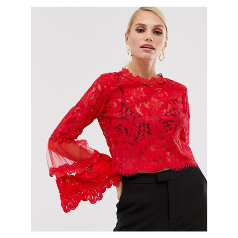 AX Paris lace flared sleeve blouse