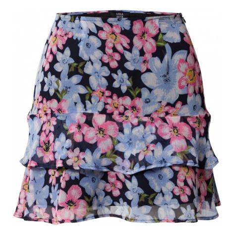 Dorothy Perkins Spódnica 'Lola Skye Floral Peplum' niebieski / różowy pudrowy / czarny