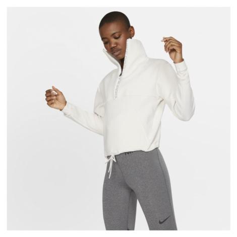 Damska bluza z dzianiny o krótkim kroju Nike Pro - Biel