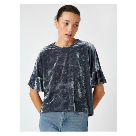Koton Krótki rękaw Velvet T-shirt