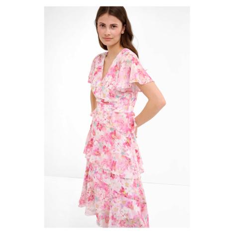 Kaskadowa sukienka midi w kwiaty Orsay