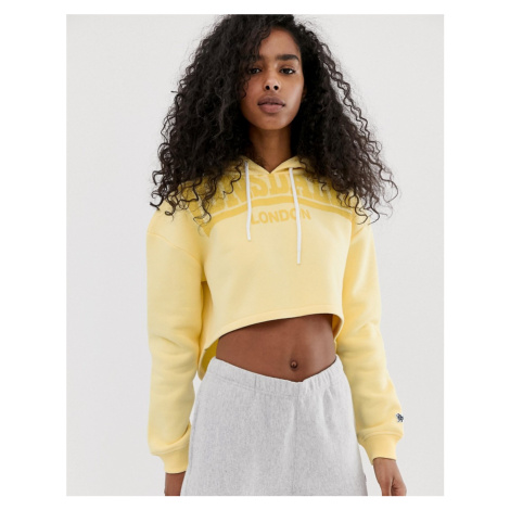 Lonsdale cropped logo hoodie in yellow