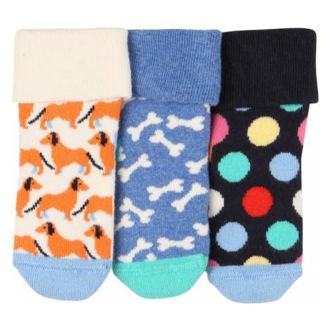 Happy Socks Skarpety mieszane kolory / podpalany niebieski / kremowy / nefryt / koniakowy