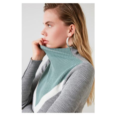 Trendyol Mint Colorblock Knit Sweater
