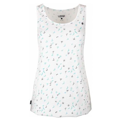 Damska bluzka na ramiączkach LOAP Badita biała z wzorem