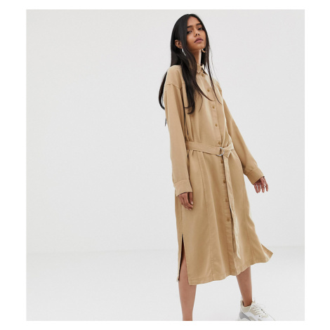 Weekday tie front shirt dress in camel