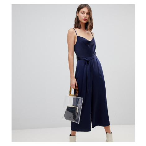 Warehouse cowl neck slinky jumpsuit in navy
