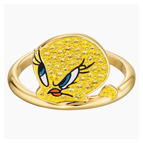 Pierścionek Looney Tunes Tweety, żółty, w odcieniu złota Swarovski