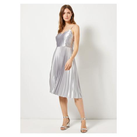 Plisowana sukienka w srebrnej Dorothy Perkins