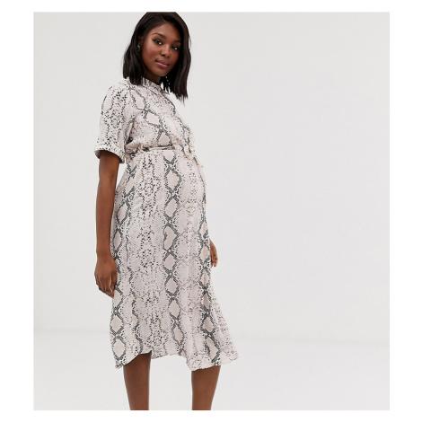 New Look Maternity tie waist shirt dress in snake print