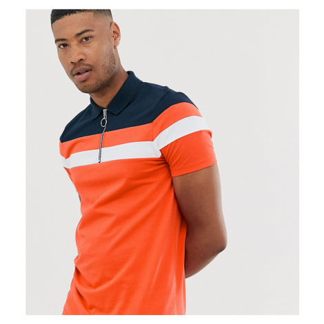 ASOS DESIGN Tall polo shirt with zip neck and contrast panels in orange