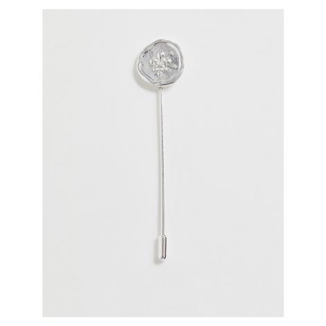 ASOS DESIGN fleur de lis lapel pin in burnished silver