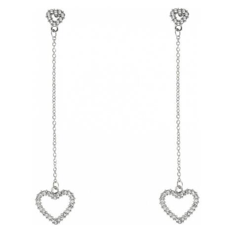 Sweet Deluxe Kolczyki 'Crystal Heart long' srebrny