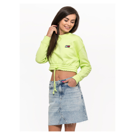 """Tommy Jeans """"Super Cropped Badge Crew"""" Green Tommy Hilfiger"""