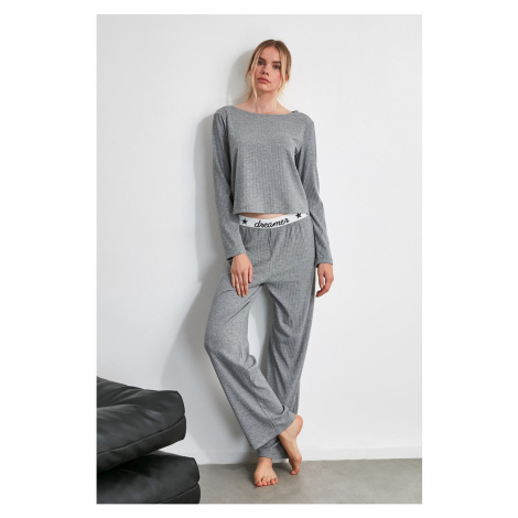Trendyol Grey Rubber Detailed Knitted Pyjama Set