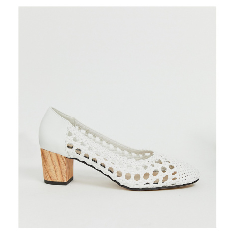 Miss Selfridge woven heeled shoes in white