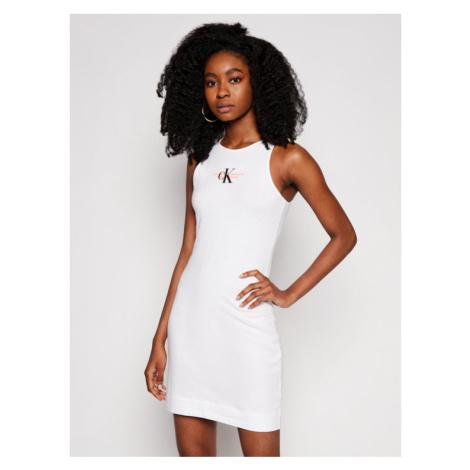 Calvin Klein Jeans Sukienka codzienna J20J216352 Biały Slim Fit