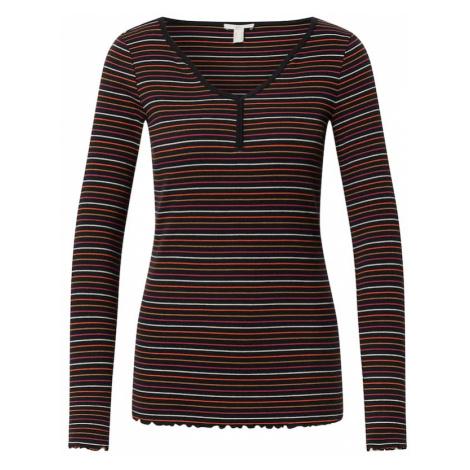 EDC BY ESPRIT Koszulka czarny / biały / fioletowy / ciemny beż / czerwony