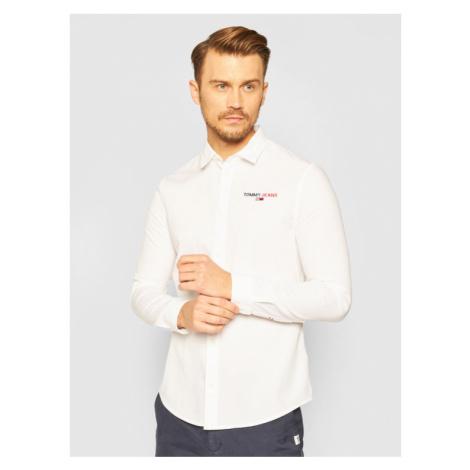 Tommy Jeans Koszula Textured Stripe Logo DM0DM08774 Biały Slim Fit Tommy Hilfiger