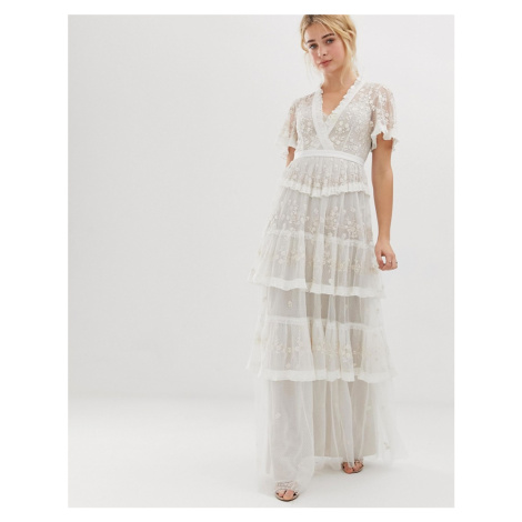 Needle & Thread embroidered lace tiered maxi dress in ivory