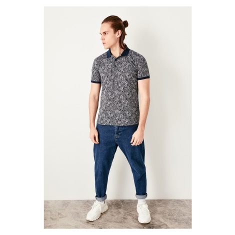 Trendyol Navy blue jacquard narrow cut Polo collar T-shirt