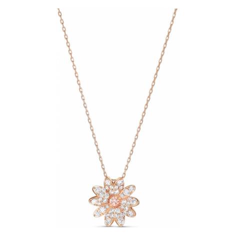 Wisiorek Eternal Flower, różowy, powłoka w odcieniu różowego złota Swarovski