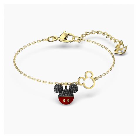 Bransoletka Mickey, czarna, powłoka w odcieniu złota Swarovski