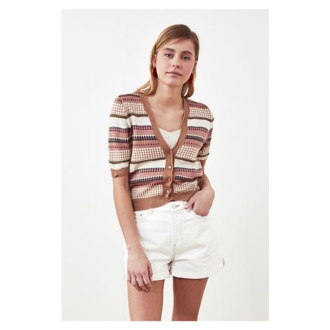 Trendyol Camel Jacquin Dzianinowy sweter