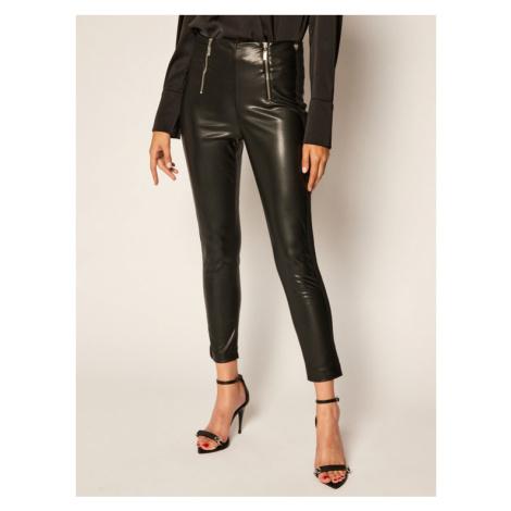 TwinSet Spodnie skórzane 202TP2062 Czarny Slim Fit