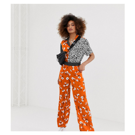 COLLUSION mixed print wide leg trouser