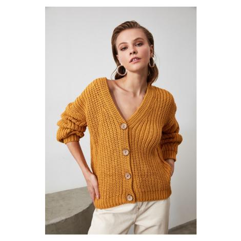 Trendyol Mustard Knitting Detailed Knitwear Cardigan