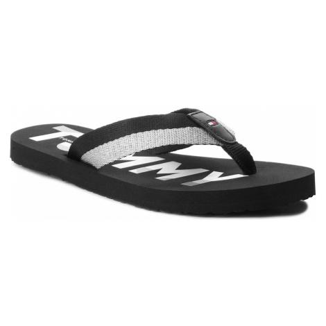 Japonki TOMMY HILFIGER - Glitter Strap Beach Sandal FW0FW02957 Black 990
