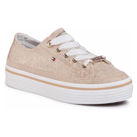 Sneakersy TOMMY HILFIGER - Flatform Sneaker FW0FW04845 Stone AEP