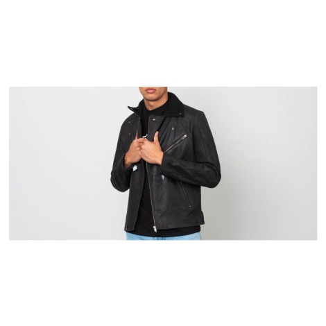 SELECTED Ray Leather/ Wool Biker Jacket Black